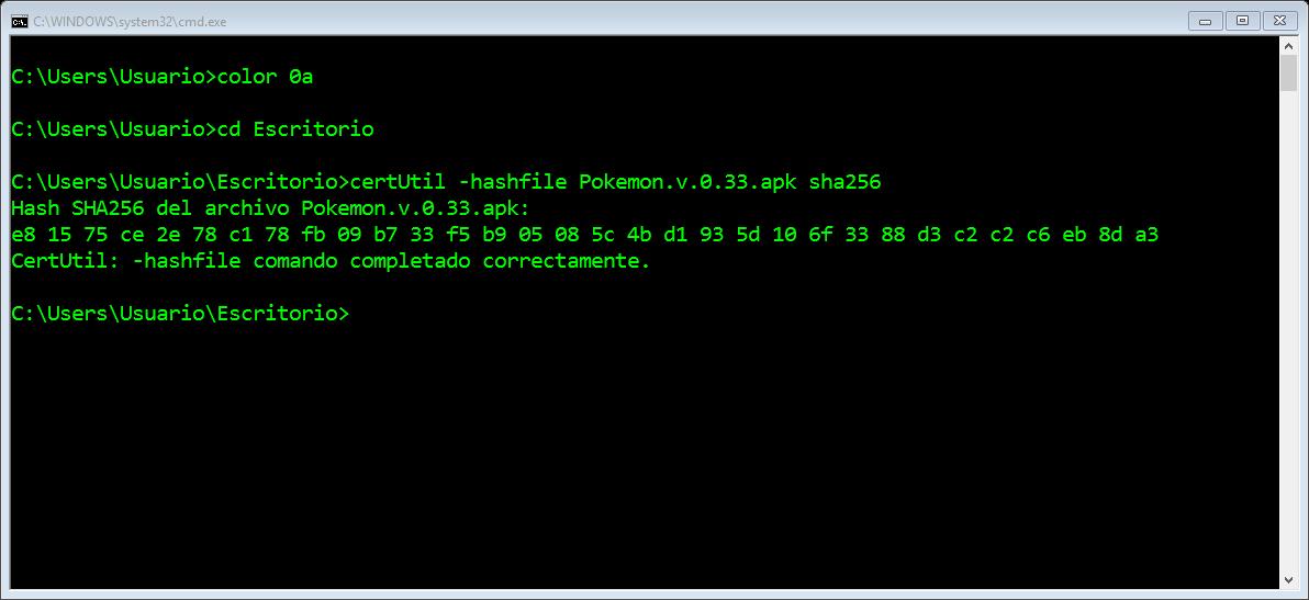 Antes de escribir el comando deberá ubicarse en la ubicación del archivo apk.