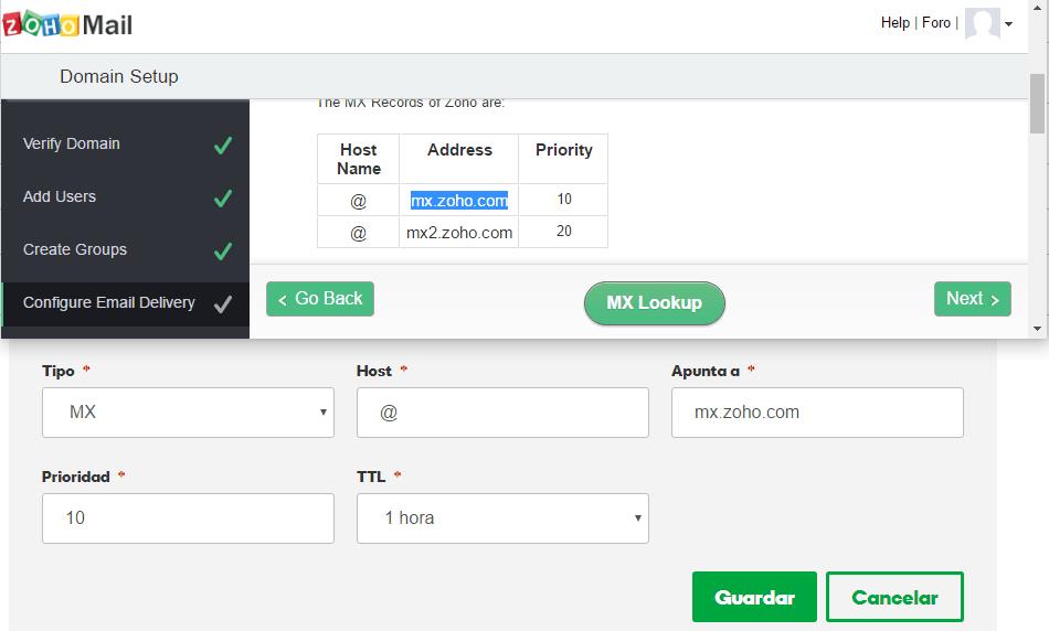 Registros MX Zoho Mail
