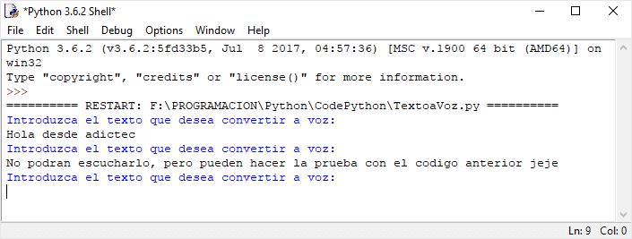 Código Python de Texto a Voz