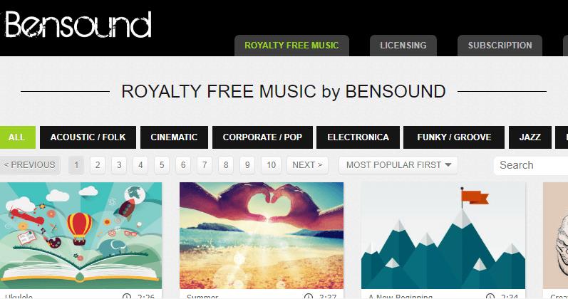 Música gratis con Bensound