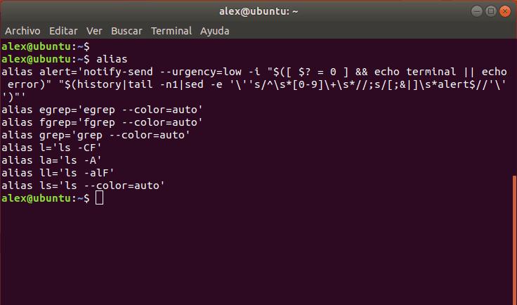 Ver alias en Linux