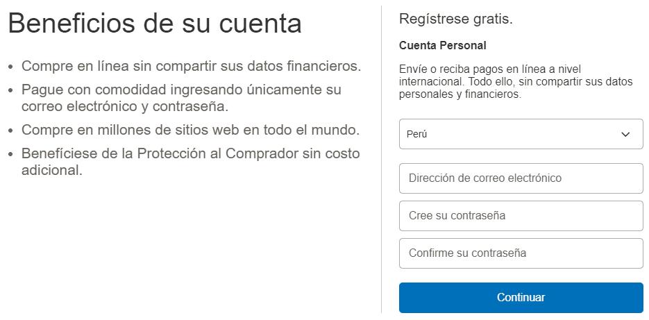 Cómo usar Paypal - Creación de Cuenta