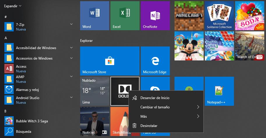 Desinstalar una aplicación normalmente Windows 10