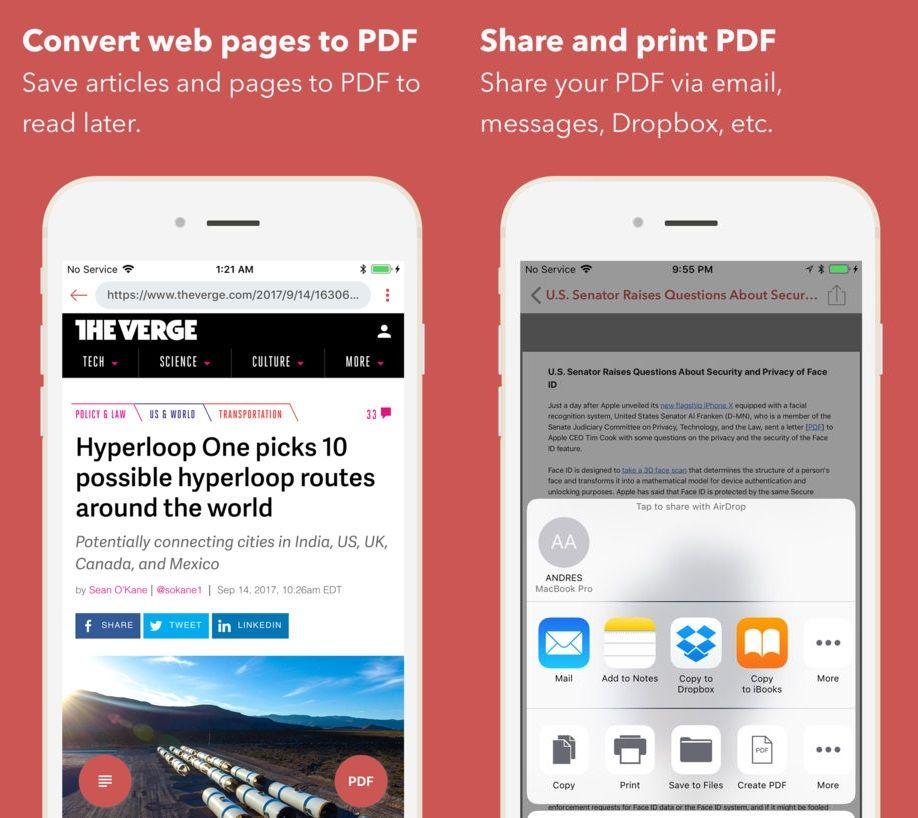 InstaWeb para iOS HTML en PDF