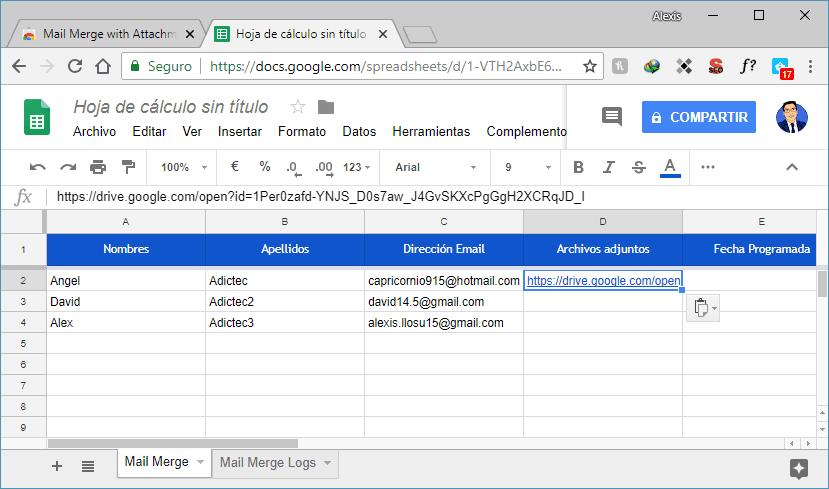 Archivos adjuntos para contacto personalizado