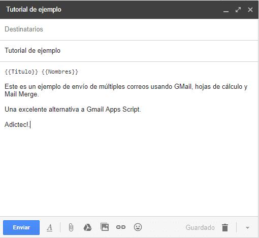 Borrador de correo electrónico Gmail