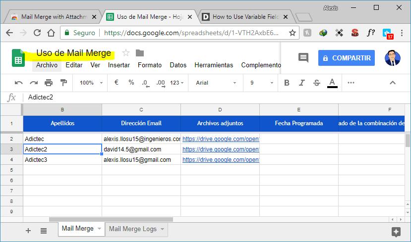 Nombra hoja de cálculo de Mail Merge