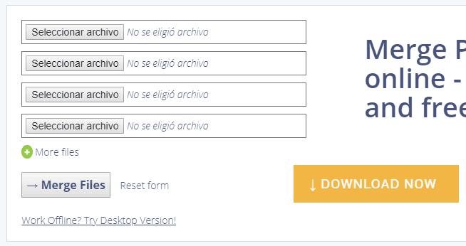 Unir PDF sin programas con PDFMerge