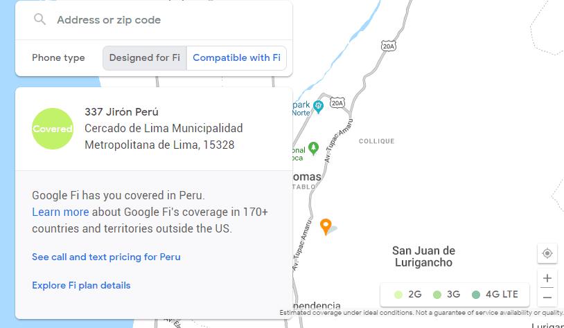Cobertura de red de Google Fi en Perú