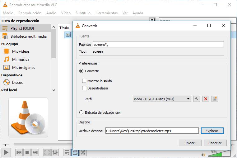 Grabar pantalla en MP4 con VLC