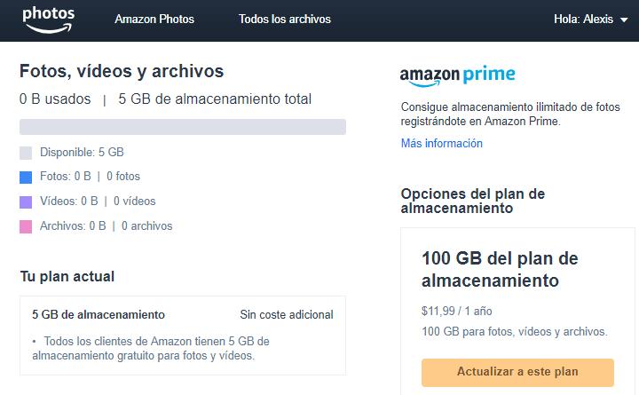 Precios almacenamiento amazon