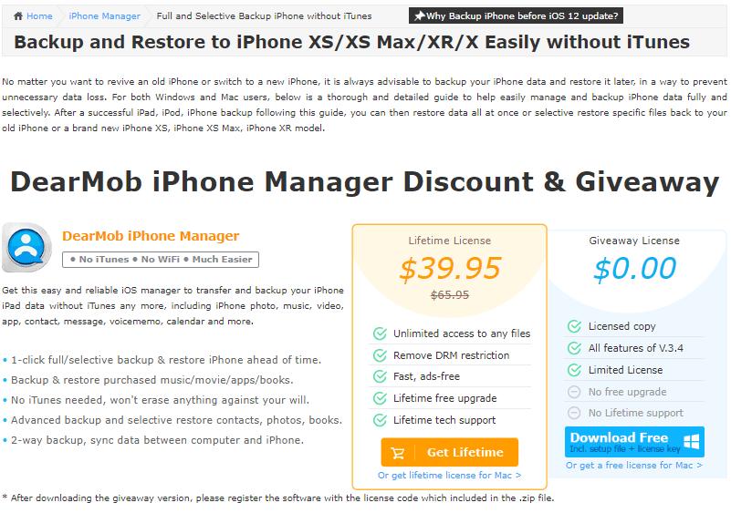 Descuento y regalo de DearMob iPhone Manager