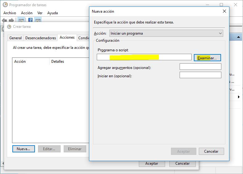 Programar script en Windows