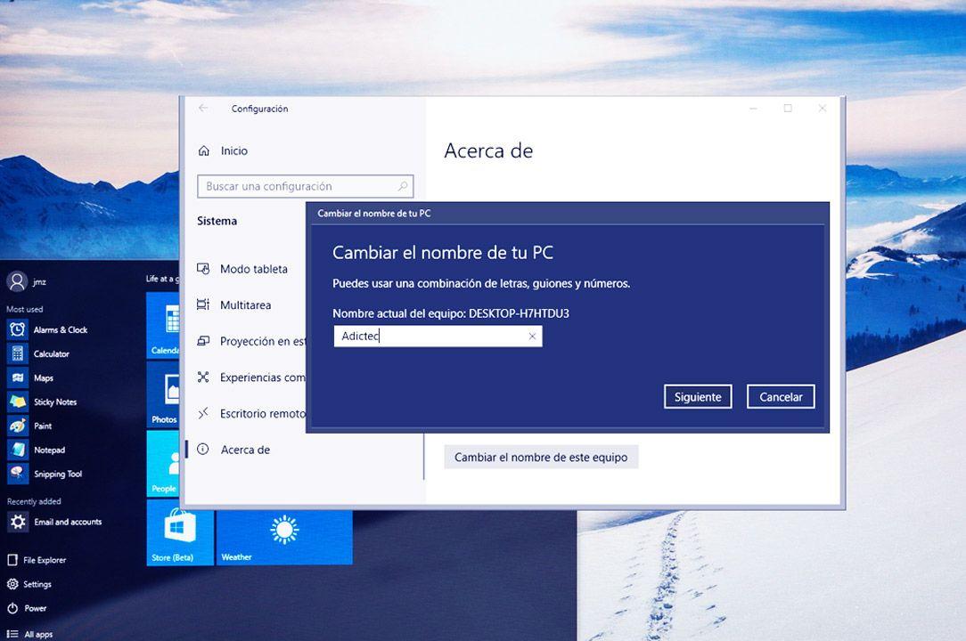 Cambiar Nombre de equipo y Red en Windows 10