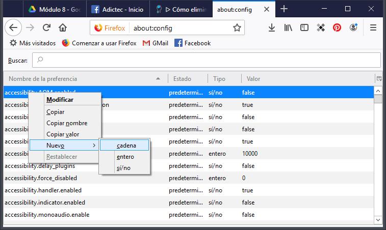 Nuevo Cadena en config Firefox