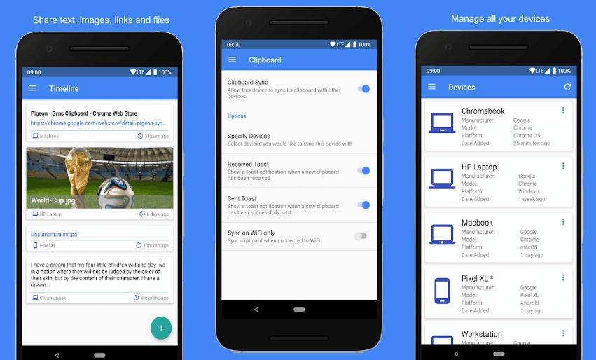 Pigeon Copiar y pegar texto Chrome y Android