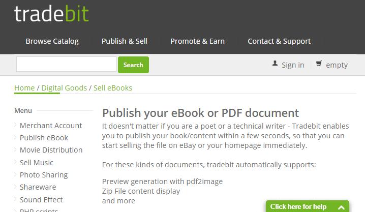 Vender libros electrónicos con Tradebit