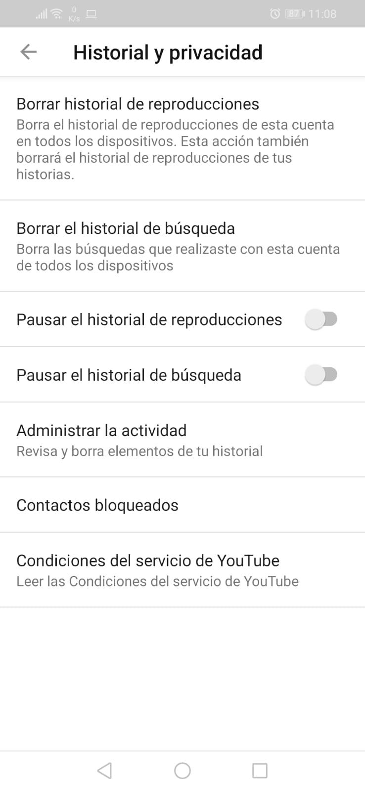 Administrar la actividad en app de YouTube