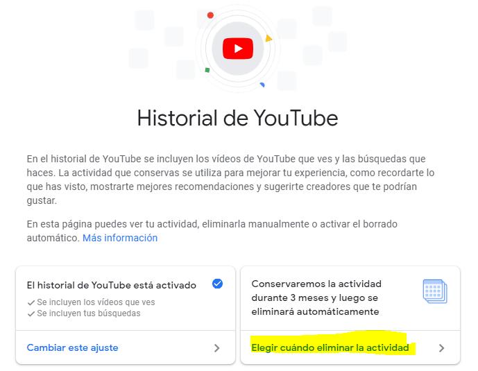 Elegir cuándo eliminar automáticamente en YouTube
