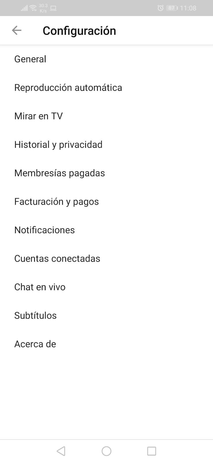 Historia y privacidad en App de Youtube