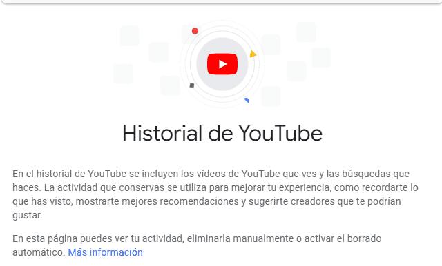Página de Historial de YouTube
