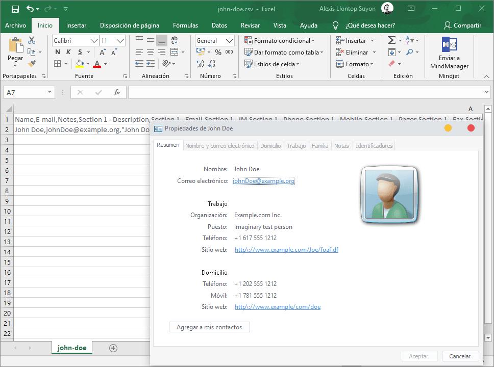 Conversión de archivo de contacto VCF a CSV