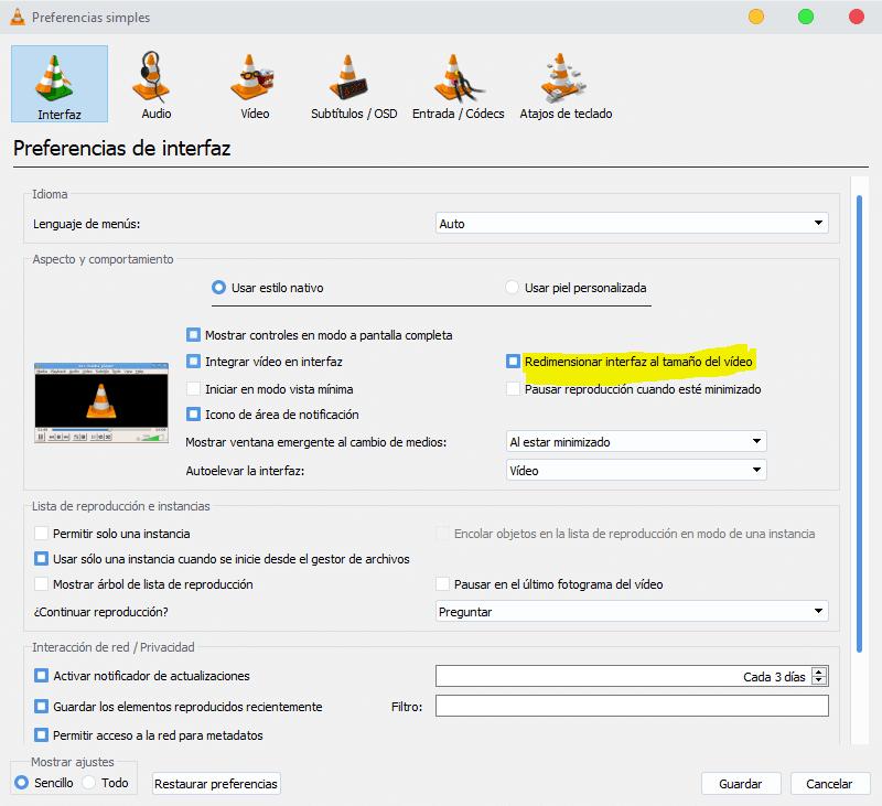 Redimensionar interfaz al tamaño del video en VLC
