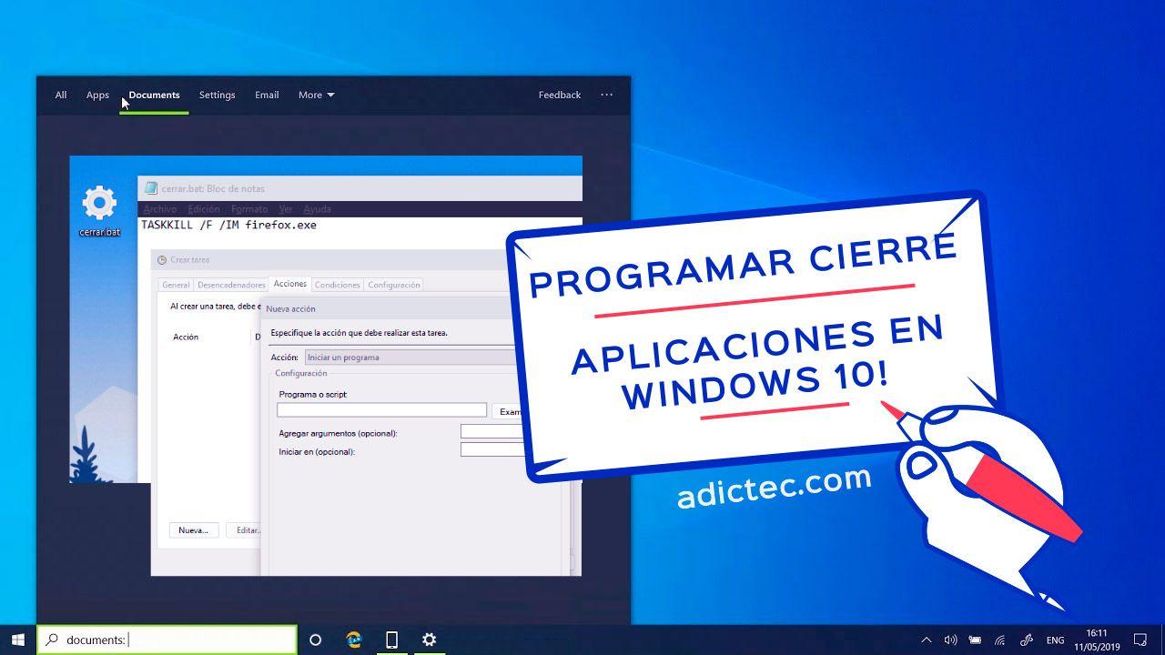 Programar cierre aplicaciones en Windows 10