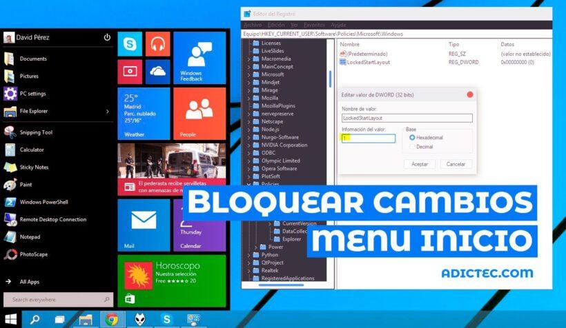 Bloquear cambios Menú Inicio Windows 10