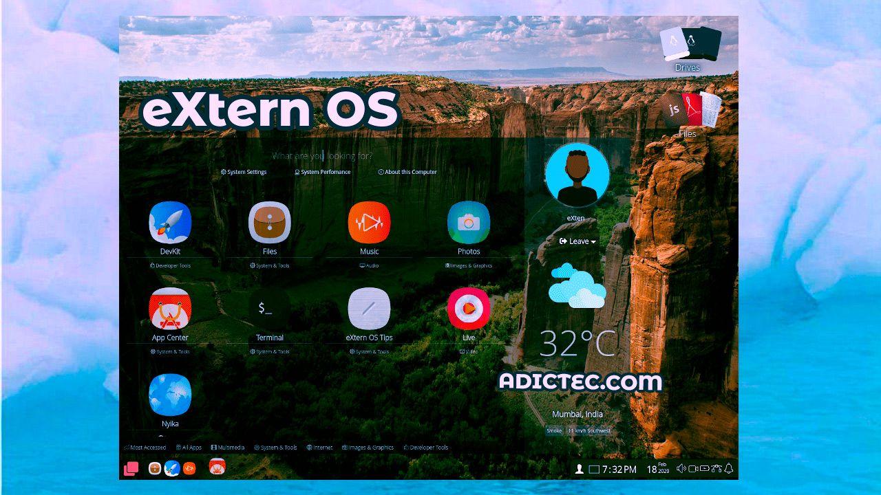 eXtern OS Distribución Linux basada Nodejs